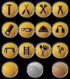 Hardware Icon Set: Gold Button Series - Gold