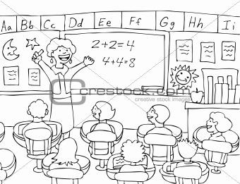 Math Teacher - black and white