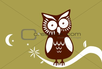 Golden Night Owl Background