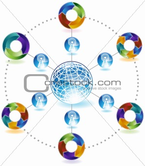Process Network Diagram - 3D Arrows
