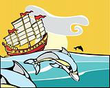 Chinese Junk with dolphins.
