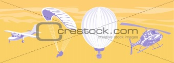 Airplane,hot air balloon,helicopter and parachute