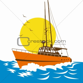 Fishing boat with big waves