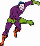Superhero running and punching