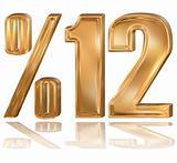 3d golden digit, %, 1, 2.