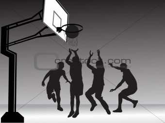 basketball player team silhouette, illustration