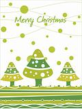 green christmas cartoon tree and snowflake