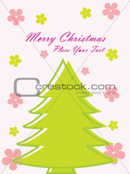 green christmas tree, isolated on white