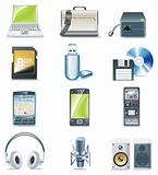 Vector detailed computer parts icon set. Part 3