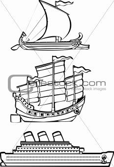 three nautical ships