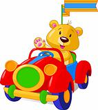 Bear in Toy Car