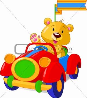 Bear in Toy Car