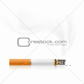 smouldering cigarette with a smoke