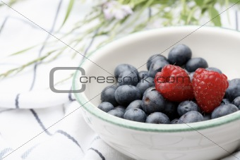 Fresh blueberries and raspberries in a bowl.