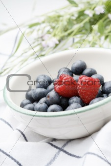 Fresh blueberries and raspberries in a bowl.