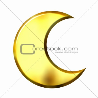 3D Golden Crescent Moon