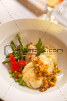 Fish Fillet with Diced Mango Salsa and Vegetables