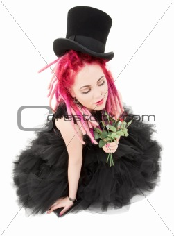 top hat and roses