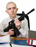 Accountant with a rifle in hands