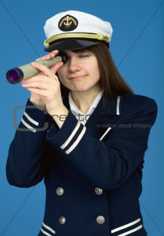 Portrait of the woman - captain with spyglass