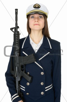 Girl in a sea uniform with a rifle