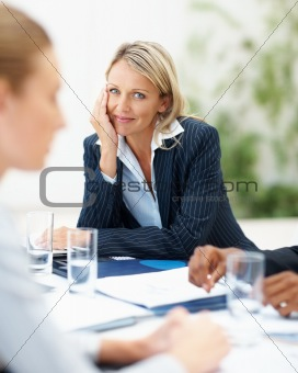 Cute business woman at a meeting