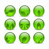 Green eco glass leaf web icons