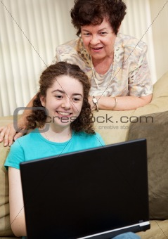 Mom and Daughter Using Computer