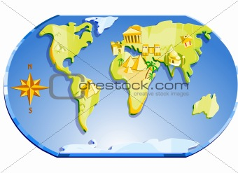 Map Of The World With Compass.Image 1962693 Map Of The World And Compass From Crestock Stock Photos