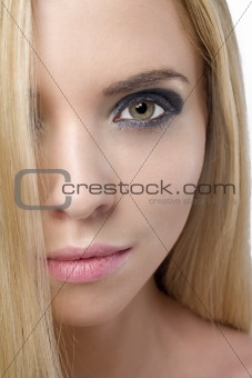Close up of womans face with long hair