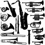 Detailed Vectoral Brass Instrument Silhouettes