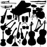 Detailed Vectoral Musical Instrument Silhouettes