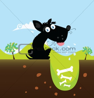 Black dog with bones. VECTOR