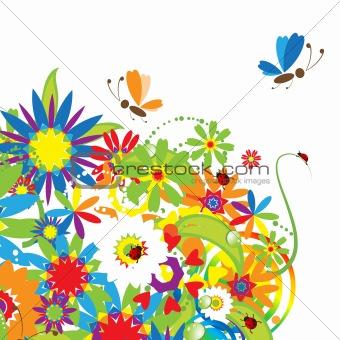 Floral bouquet, summer illustration