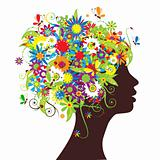 Floral head silhouette