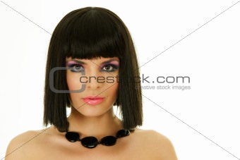 Attractive woman with black necklace