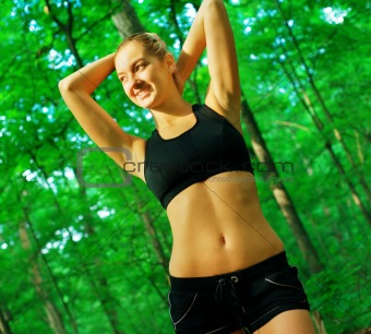 Blonde Woman Exercising