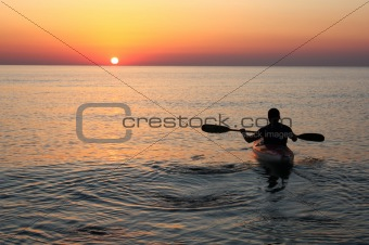 kayak at the sunrise