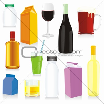 vector isolated drink containers
