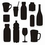 vector drink containers silhouetes