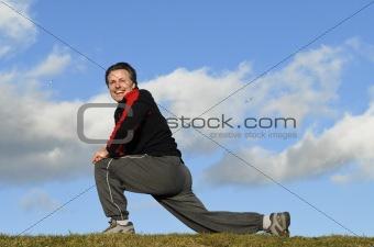 man exercising.