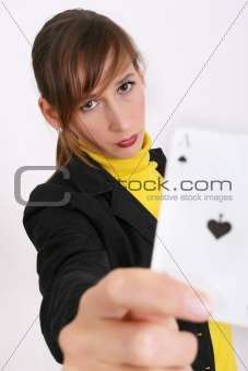 woman showing playing card