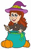 Wizard girl with cauldron