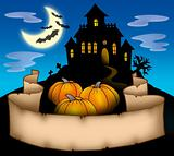 Haunted house with banner