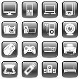 Set of 16 black computer and media icons.