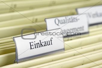 "Close-up hanging folder ""Purchase"""