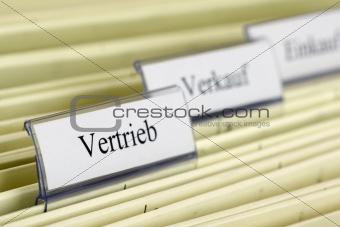 "Close-up hanging folder ""Distribution"""