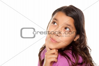 Pretty Hispanic Girl Thinking Isolated on a White Background.