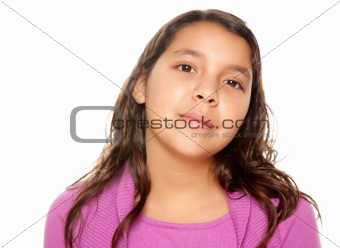 Pretty Hispanic Girl Portrait Isolated on a White Background.