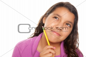 Pretty Hispanic Girl Thinking with Pencil Isolated on a White Background.